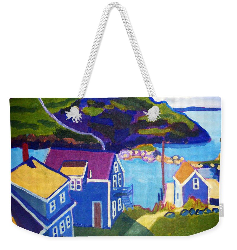 Seascape Weekender Tote Bag featuring the painting Monhegan Harbor by Debra Bretton Robinson