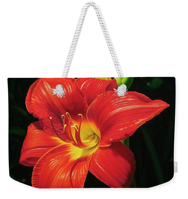 Lily Weekender Tote Bag featuring the painting Monikas Red Lily by Gary Hernandez