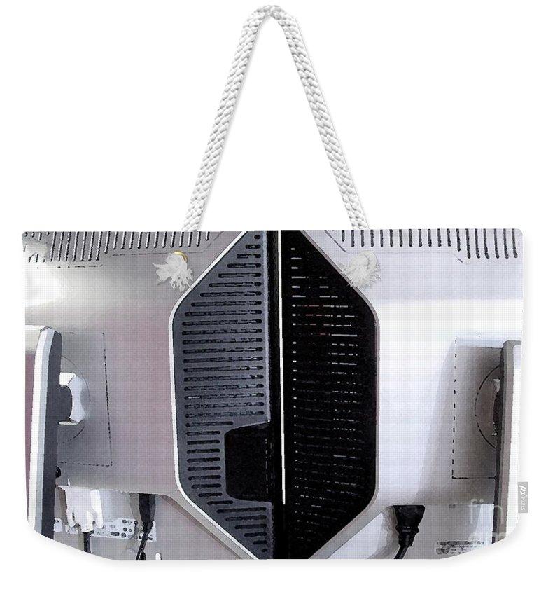 Monitor Weekender Tote Bag featuring the digital art Monitaur by Ron Bissett