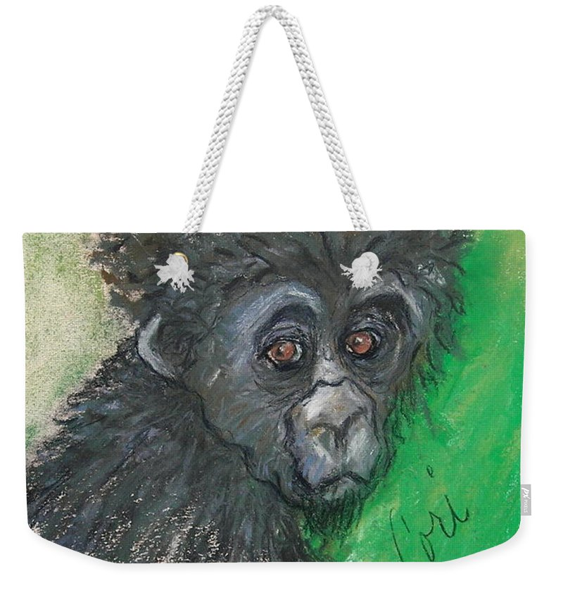 Monkey Weekender Tote Bag featuring the drawing Monkey Business by Cori Solomon