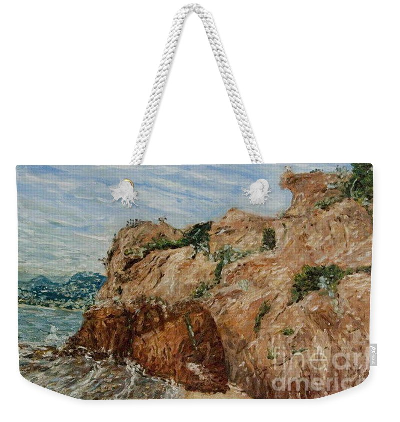 Landscape Weekender Tote Bag featuring the painting Monkey Stone by Pablo de Choros