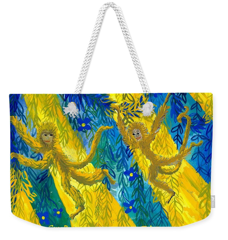 Monkeys Weekender Tote Bag featuring the painting Monkeys And Sunbeams by Sushila Burgess