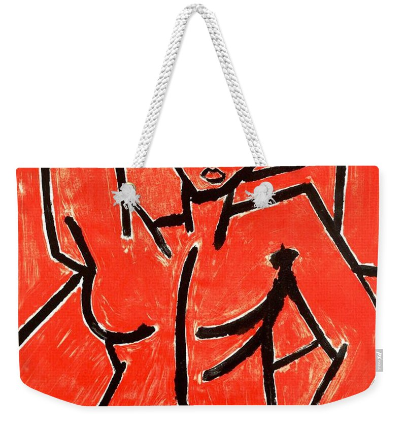 Clay Weekender Tote Bag featuring the painting Mono 2 by Thomas Valentine