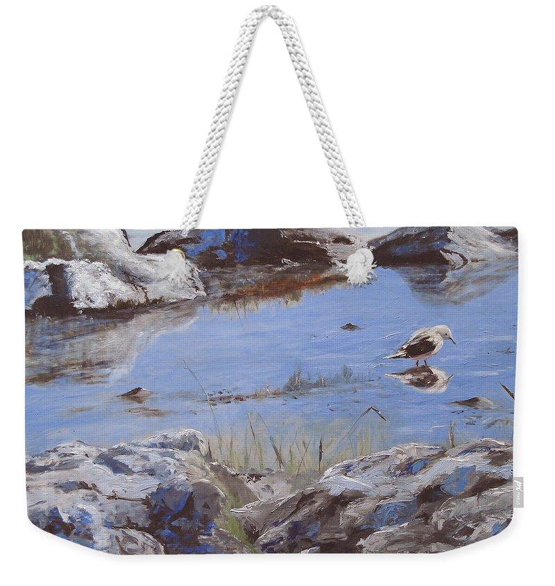Animal Weekender Tote Bag featuring the painting Mono Lake by Barbara Andolsek
