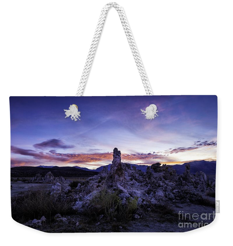 California Weekender Tote Bag featuring the photograph Mono Lake Sunset 4 by Timothy Hacker
