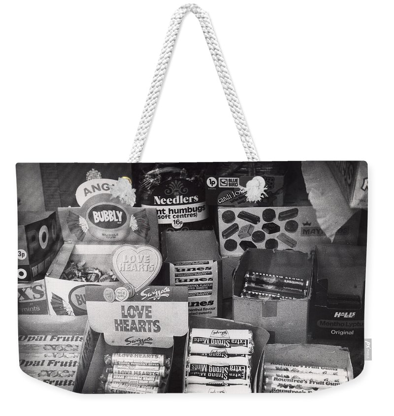 Candy Weekender Tote Bag featuring the photograph Monochrome Candy by Charles Stuart