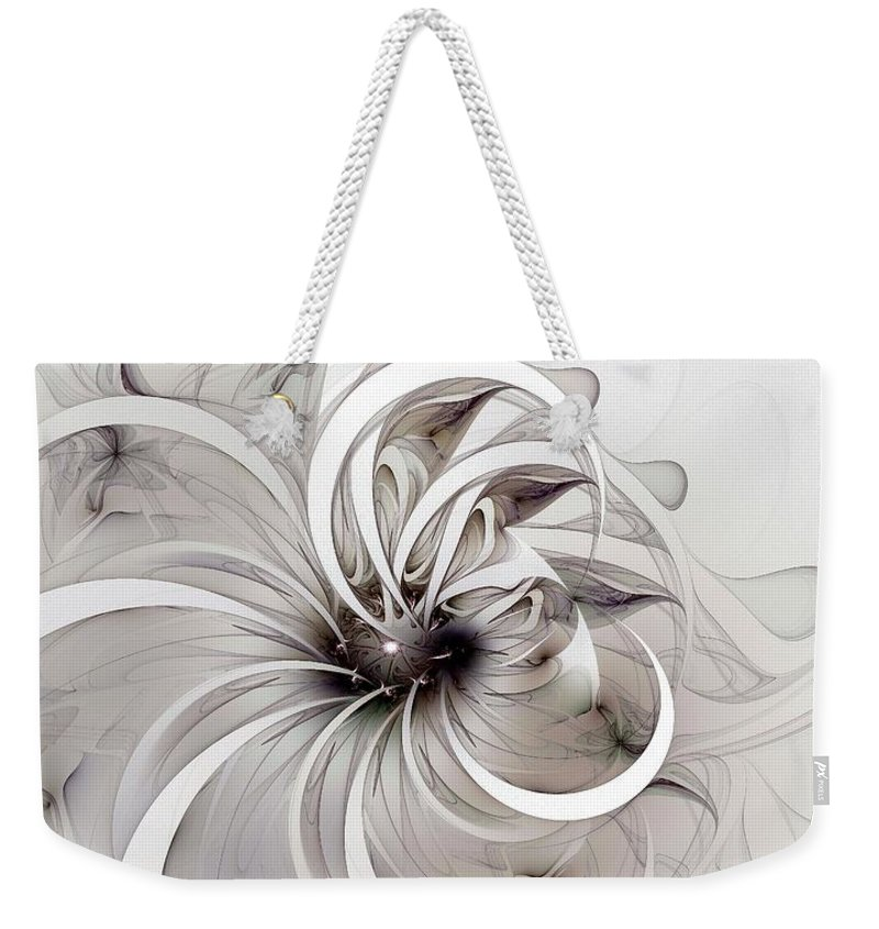 Digital Art Weekender Tote Bag featuring the digital art Monochrome Flower by Amanda Moore