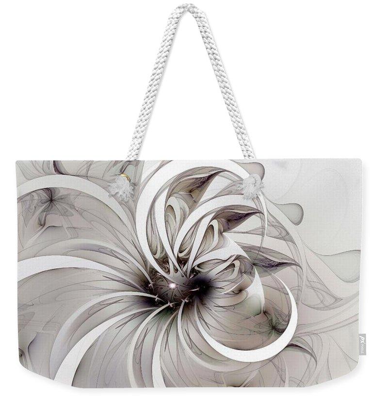 Digital Art Weekender Tote Bag featuring the digital art Monochrome flower by Amanda Moore