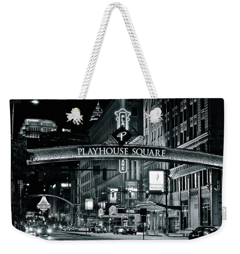 Cleveland Weekender Tote Bag featuring the photograph Monochrome Grayscale Palyhouse Square by Frozen in Time Fine Art Photography