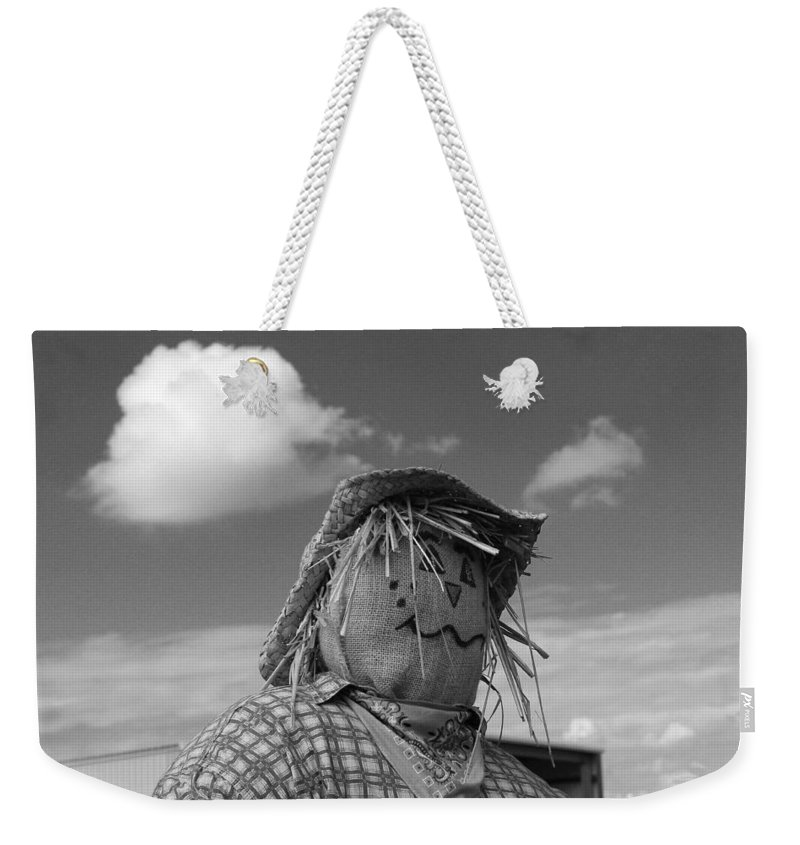 Photo For Sale Weekender Tote Bag featuring the photograph Monochrome Scarecrow by Robert Wilder Jr