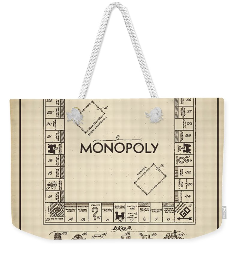 Terry Deluco Weekender Tote Bag featuring the digital art Monopoly Patent 1935 Vintage Border by Terry DeLuco