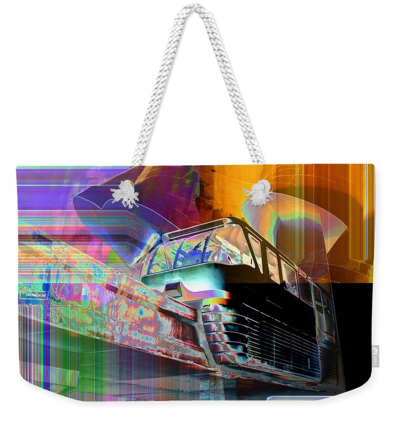 Seattle Weekender Tote Bag featuring the digital art Monorail And Emp by Tim Allen