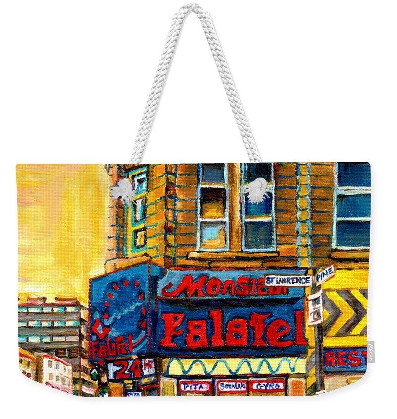 Montreal Weekender Tote Bag featuring the painting Monsieur Falafel by Carole Spandau