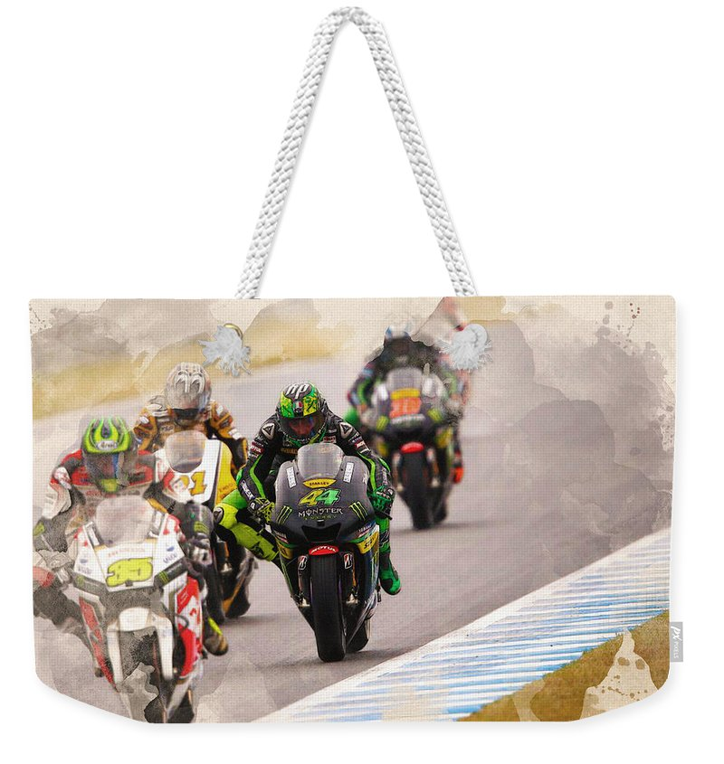 Formula 1 Weekender Tote Bag featuring the digital art Monster Yamaha Tech 3, by Don Kuing