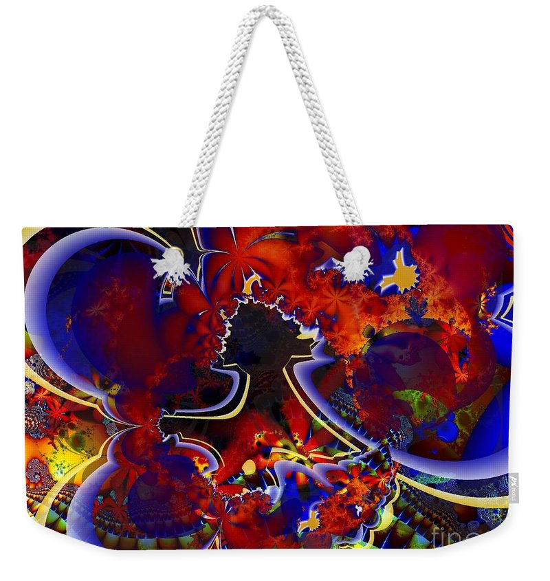 Fractal Weekender Tote Bag featuring the digital art Montage In Reds And Blues by Ron Bissett