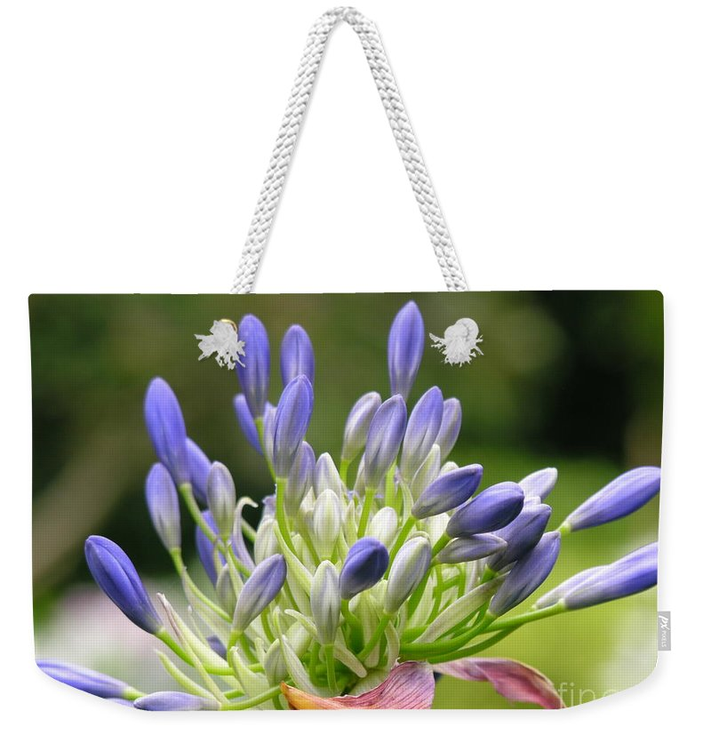 Purple Weekender Tote Bag featuring the photograph Montana Flower by Diane Greco-Lesser