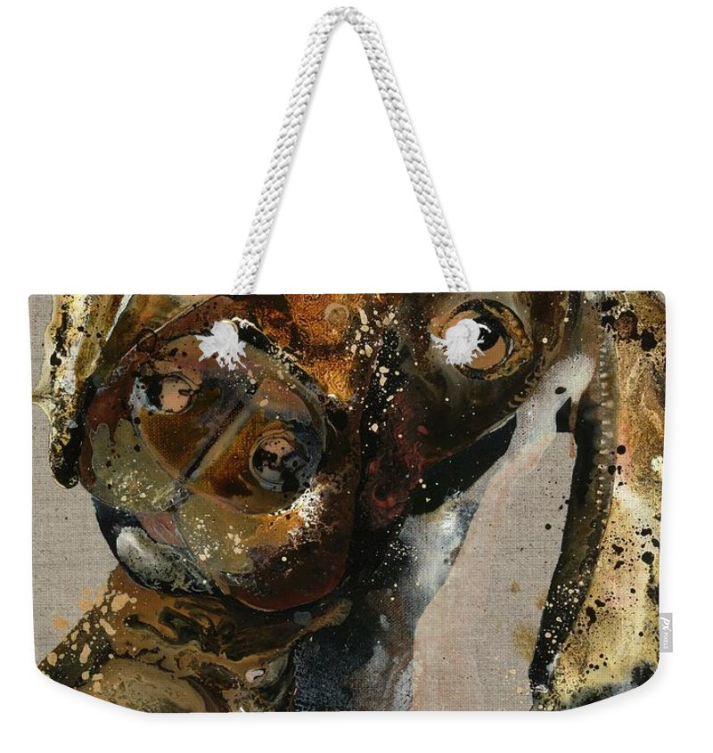 Puppy Weekender Tote Bag featuring the painting Montana by Kasha Ritter