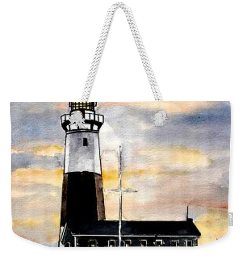 Montauk Point Weekender Tote Bag featuring the painting Montauk Point Lighthouse by Derek Mccrea