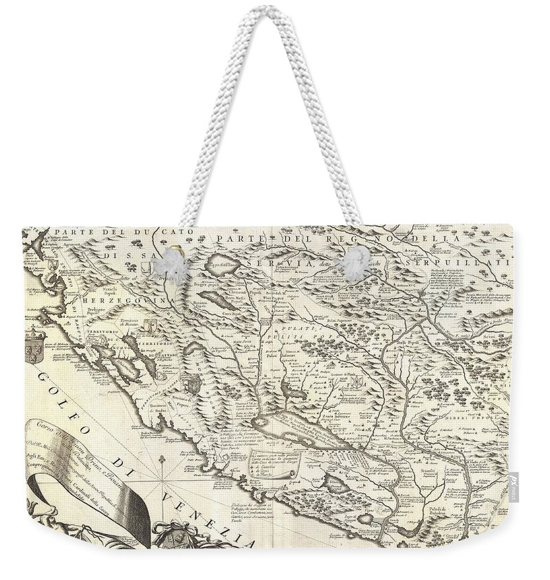 Montenegro 1690 Map Weekender Tote Bag featuring the drawing Montenegro 1690 Map by Dan Sproul