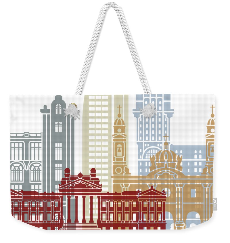 Montevideo Weekender Tote Bag featuring the painting Montevideo Skyline Poster by Pablo Romero