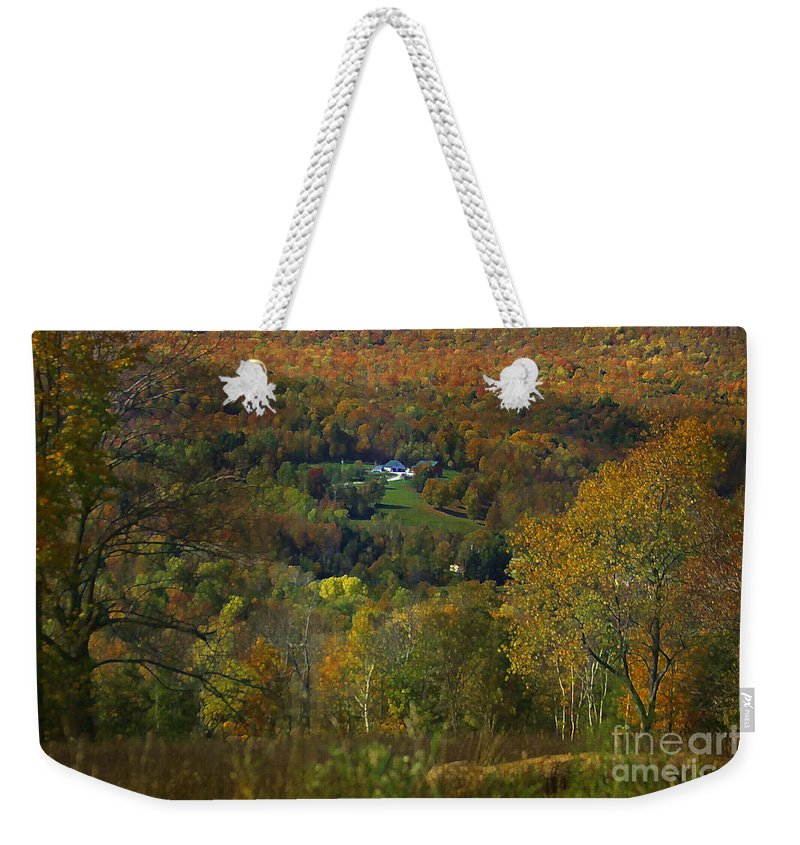 Autumn Weekender Tote Bag featuring the photograph Montgomery Hillside Of Color by Deborah Benoit