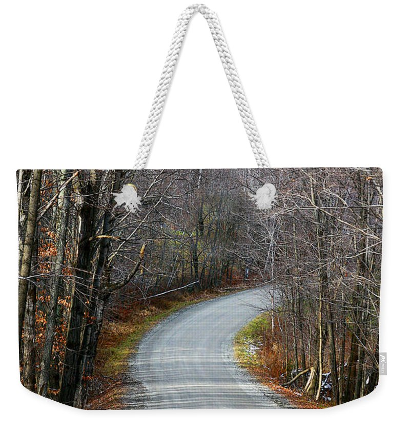 Rural Weekender Tote Bag featuring the photograph Montgomery Mountain Rd. by Deborah Benoit