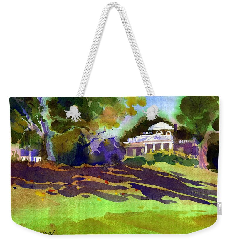 Thomas Jefferson Weekender Tote Bag featuring the painting Monticello In October by Lee Klingenberg