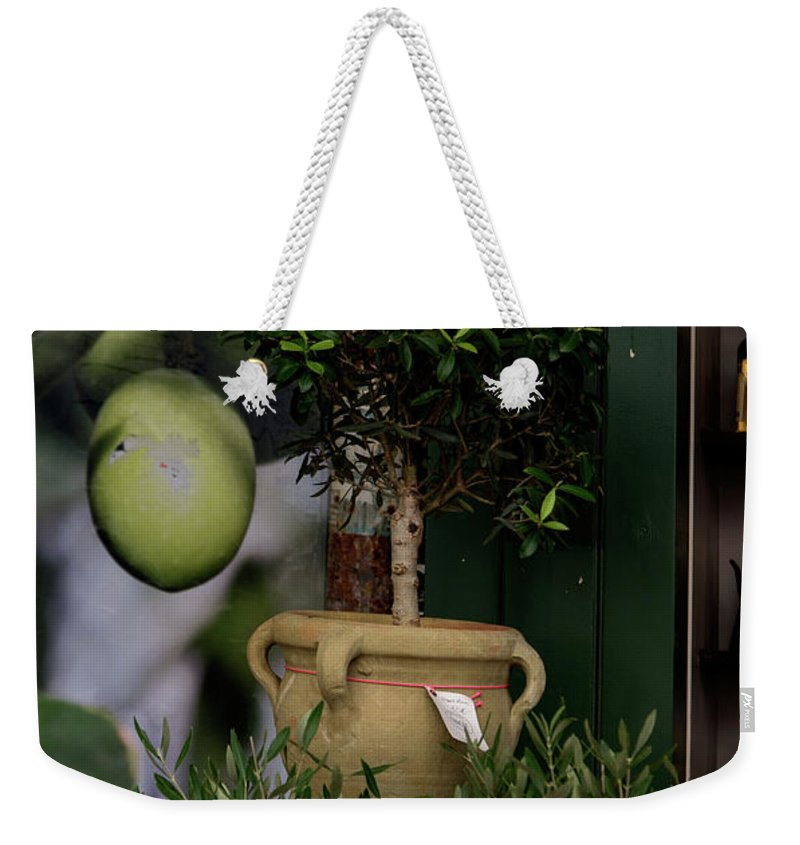Architectural Sculpture Weekender Tote Bag featuring the digital art Montmarte Paris Olive Oil by Carol Ailles