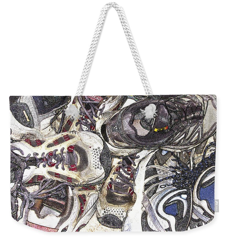 Abstract Weekender Tote Bag featuring the photograph Montrails And Solomons by Karen W Meyer