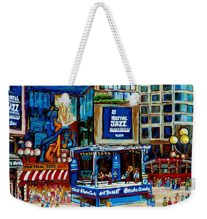 Jazz Singers Weekender Tote Bag featuring the painting Montreal City Paintings By Streetscene Specialist Carole Spandau Over 500 Prints Available by Carole Spandau