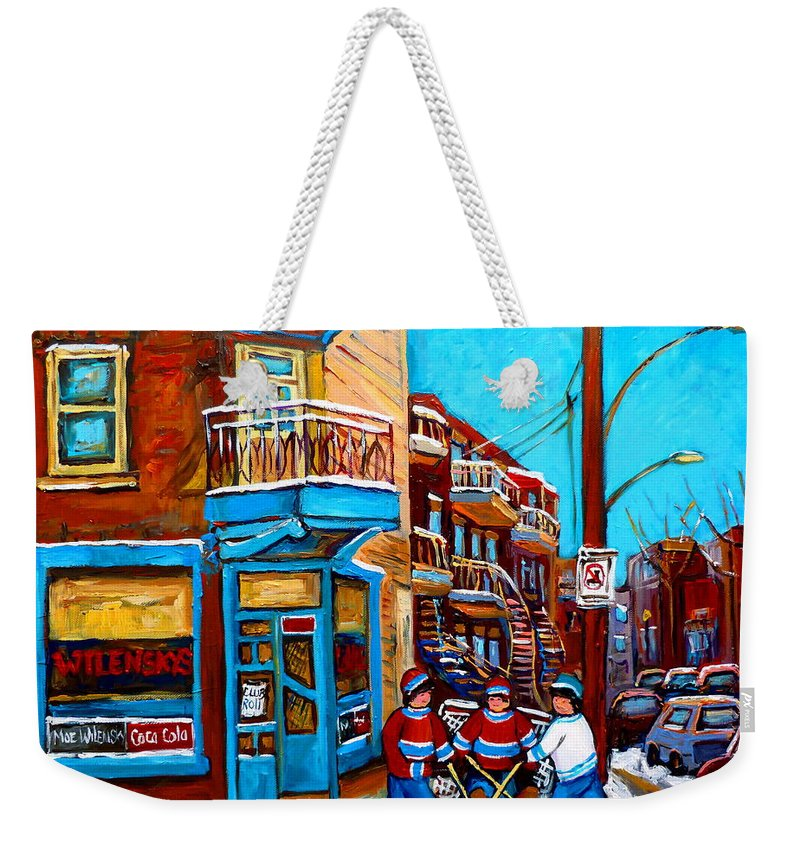 Montreal Weekender Tote Bag featuring the painting Montreal City Scene Hockey At Wilenskys by Carole Spandau
