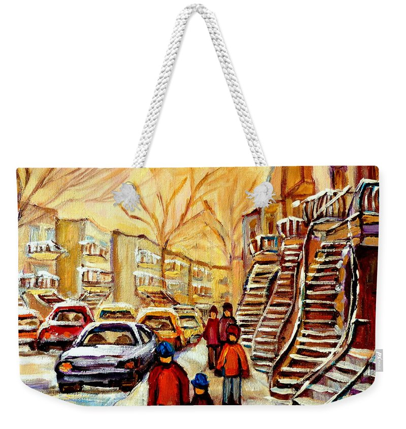 Montreal Weekender Tote Bag featuring the painting Montreal City Scene In Winter by Carole Spandau