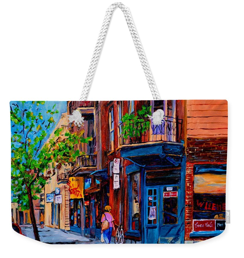 Montreal Weekender Tote Bag featuring the painting Montreal Depanneurs by Carole Spandau