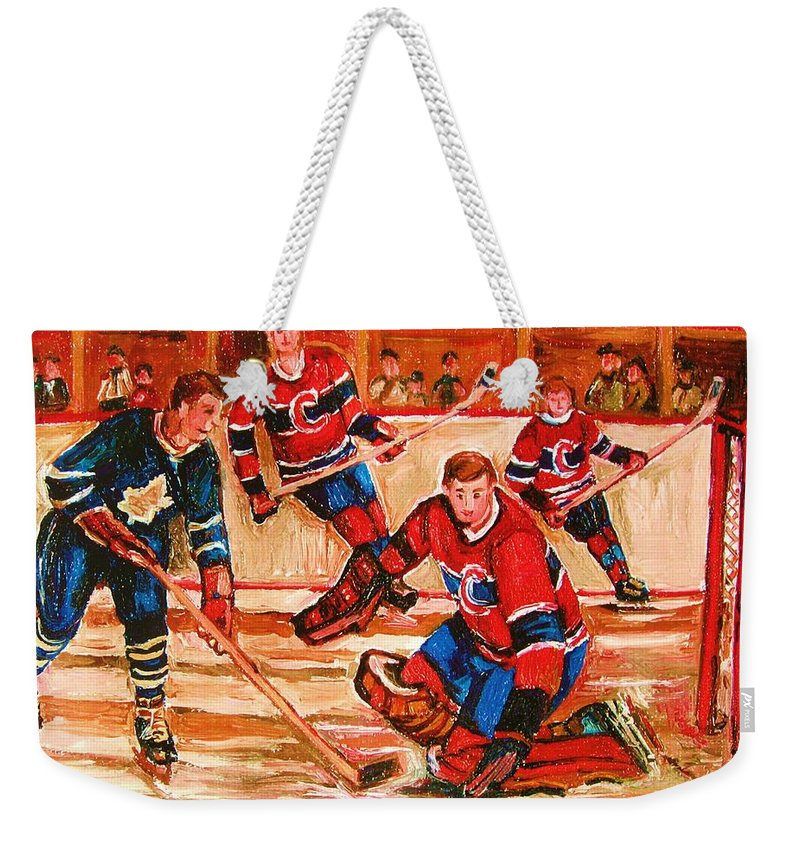 Montreal Forum Hockey Weekender Tote Bag featuring the painting Montreal Forum Hockey Game by Carole Spandau