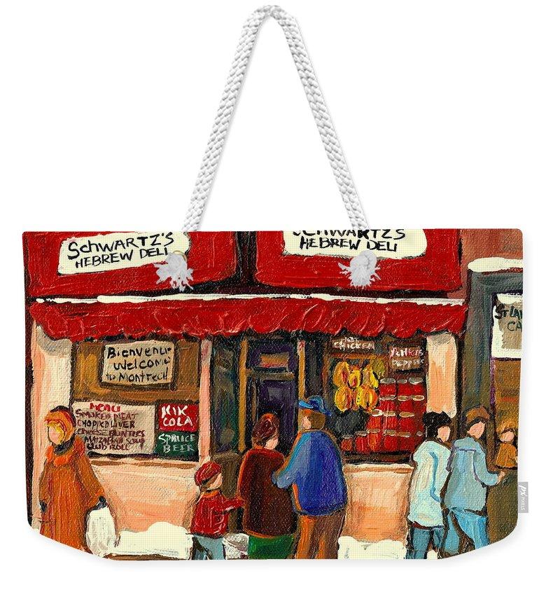 Montreal Hebrew Delicatessen Weekender Tote Bag featuring the painting Montreal Hebrew Delicatessen Schwartzs By Montreal Streetscene Artist Carole Spandau by Carole Spandau