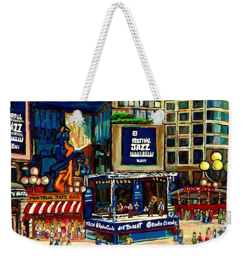 Montreal Weekender Tote Bag featuring the painting Montreal Jazz Festival Arcade by Carole Spandau