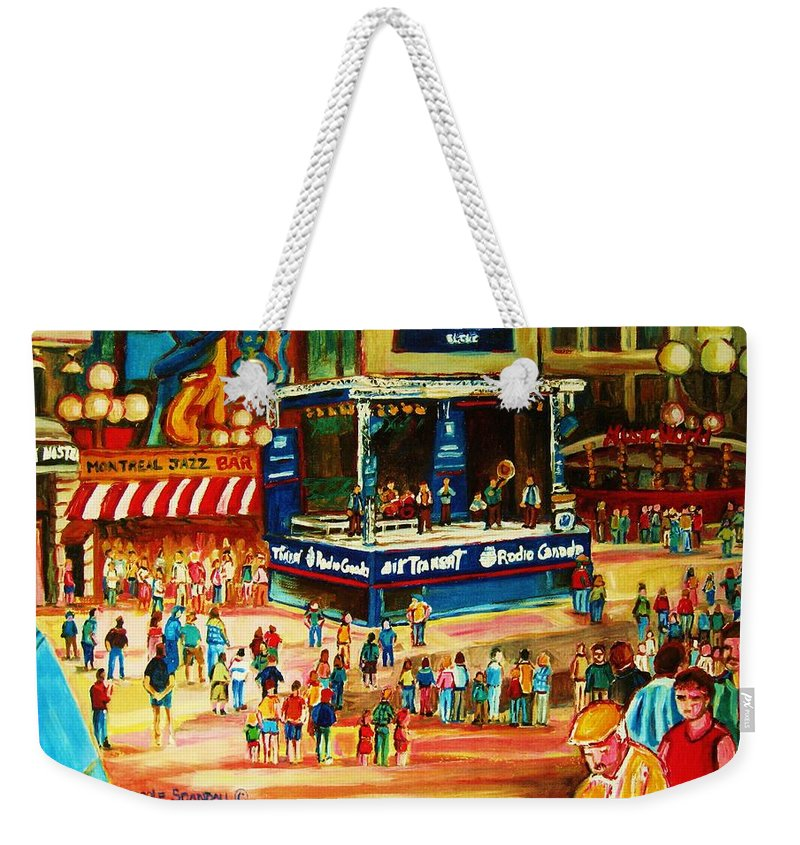 Montreal Weekender Tote Bag featuring the painting Montreal Jazz Festival by Carole Spandau