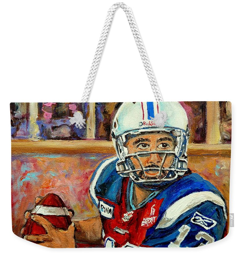 Anthony Calvillo Weekender Tote Bag featuring the painting Montreal Je Me Souviens By Montreal Streetscene Artist Carole Spandau by Carole Spandau