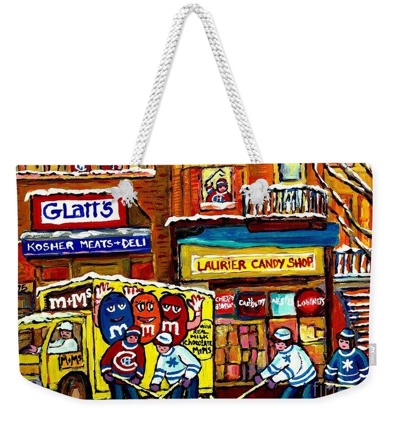 Montreal Memories Jewish Street Glatt's Kosher Laurier Candy Shop Canadian  Hockey Art Carole Spandau Weekender Tote Bag