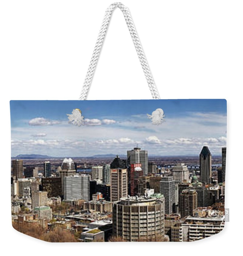 Montreal Weekender Tote Bag featuring the photograph Montreal Seen From Above by For Ninety One Days