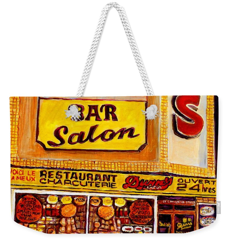 Dunns Weekender Tote Bag featuring the painting Montreal Smoked Meat Dunns Restaurant by Carole Spandau