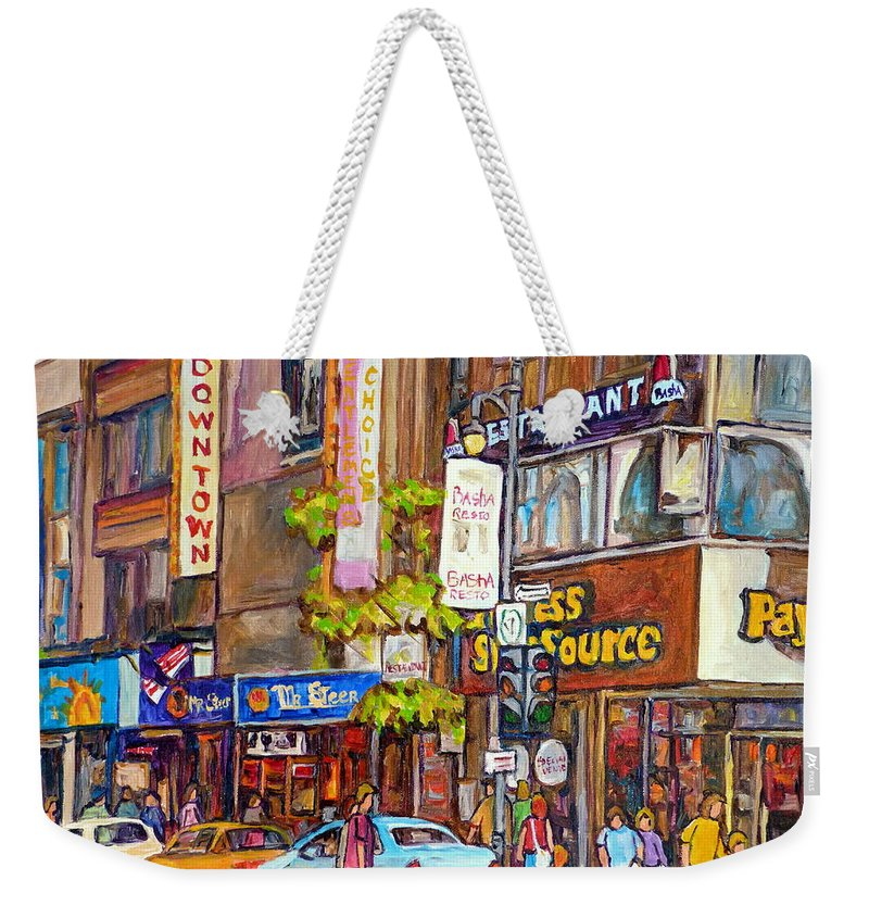Montreal Weekender Tote Bag featuring the painting Montreal St.catherine Street Corner Peel by Carole Spandau