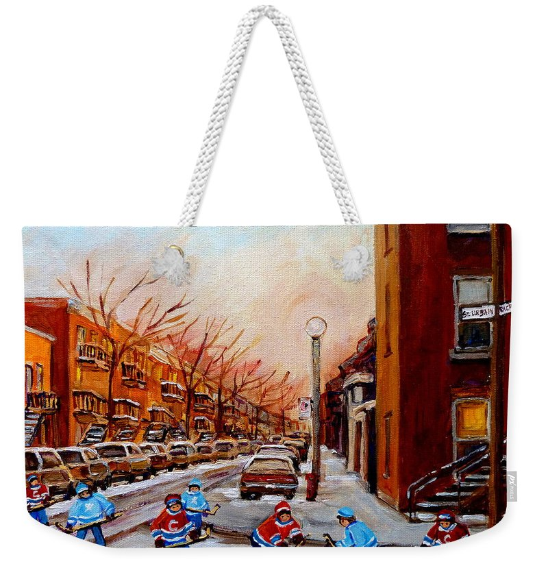Montreal Streetscene Weekender Tote Bag featuring the painting Montreal Street Hockey Game by Carole Spandau