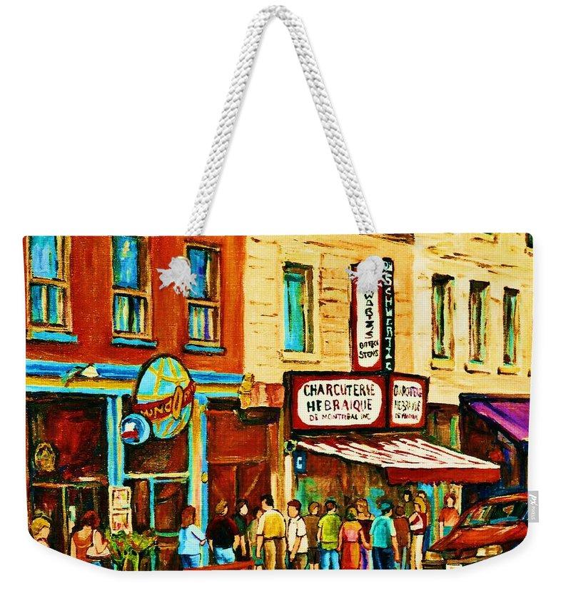 Montreal Weekender Tote Bag featuring the painting Montreal Streetscene Artist Carole Spandau Paints Schwartzs Main Street Hustle Bustle by Carole Spandau