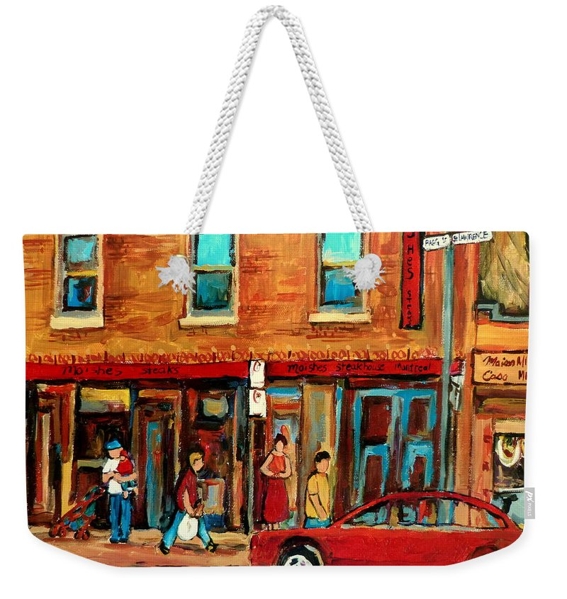 Montreal Cityscene Romance Paintintgs Weekender Tote Bag featuring the painting Montreal Streetscenes By Cityscene Expert Painter Carole Spandau Over 500 Prints Available by Carole Spandau