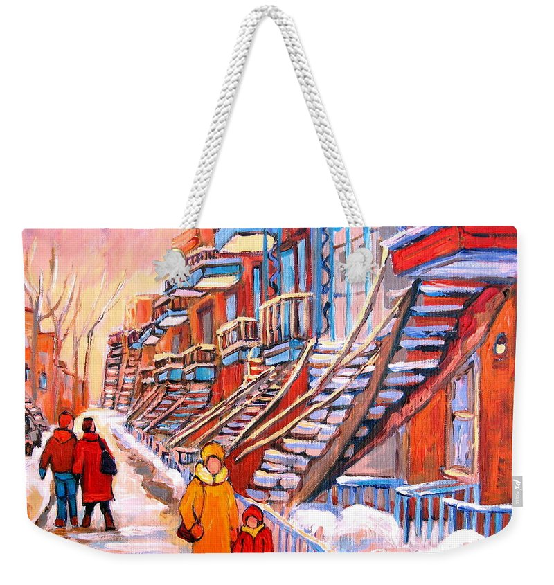 Montreal Weekender Tote Bag featuring the painting Montreal Winter Walk by Carole Spandau