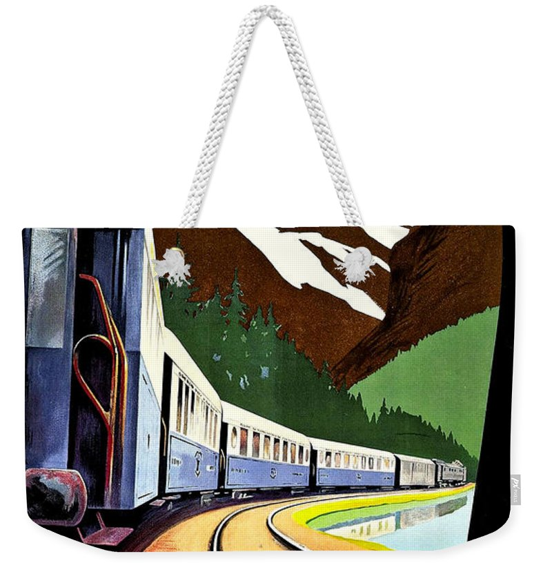 Montreux Weekender Tote Bag featuring the painting Montreux, Golden Mountain Railway, Switzerland by Long Shot