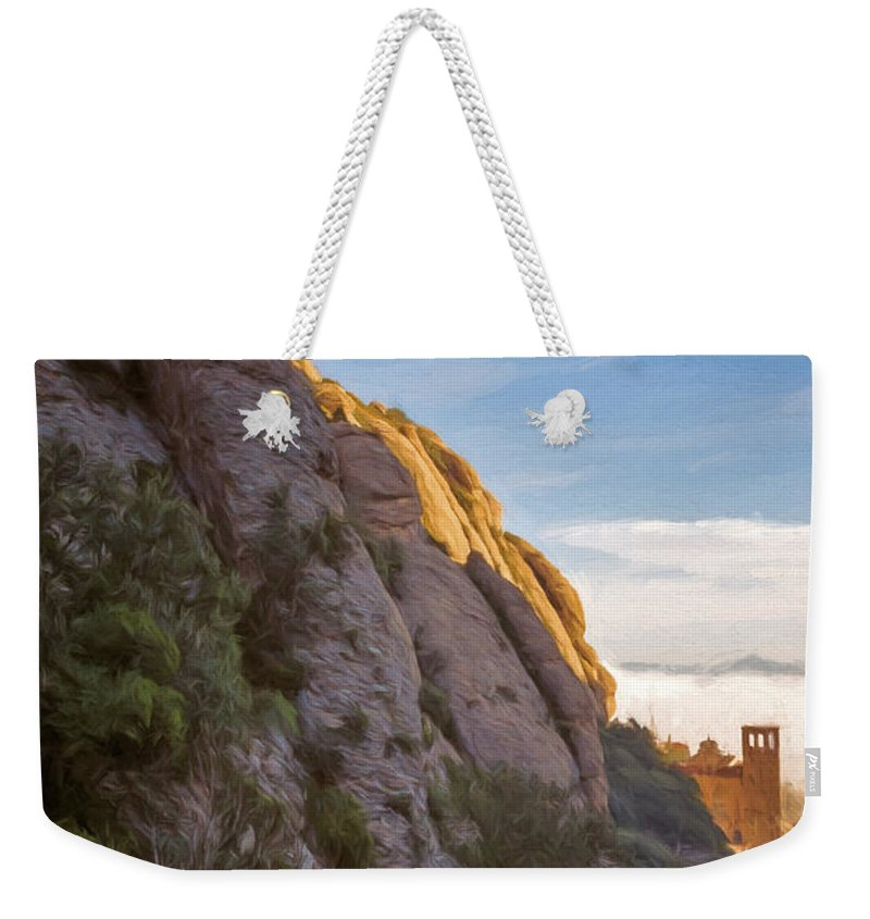 Joan Carroll Weekender Tote Bag featuring the photograph Montserrat Hike Painterly by Joan Carroll