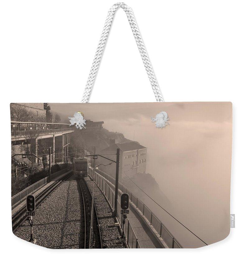 Joan Carroll Weekender Tote Bag featuring the photograph Montserrat Winter Morning Bw by Joan Carroll