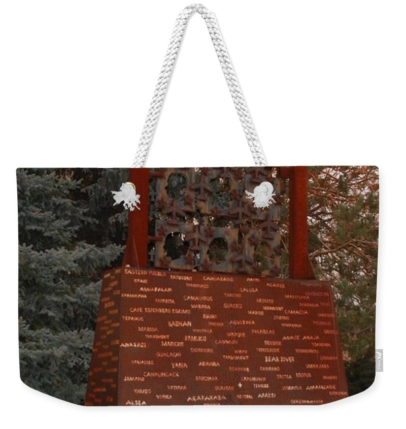 Monument Weekender Tote Bag featuring the photograph Monument At N M State Captial by Rob Hans